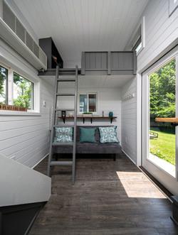 Twin size loft with fold away latter
