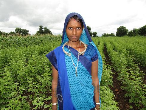 Maklibai standing in her cotton field.JP