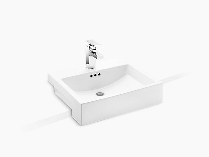 Ladena® Semi-recessed Lavatory with single faucet hole