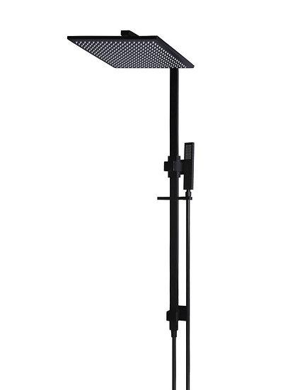 Square King 2-in-1 Matte Black Shower Rail Set