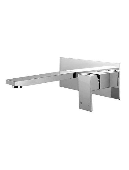 Square Chrome Wall Spout and Mixer Combination