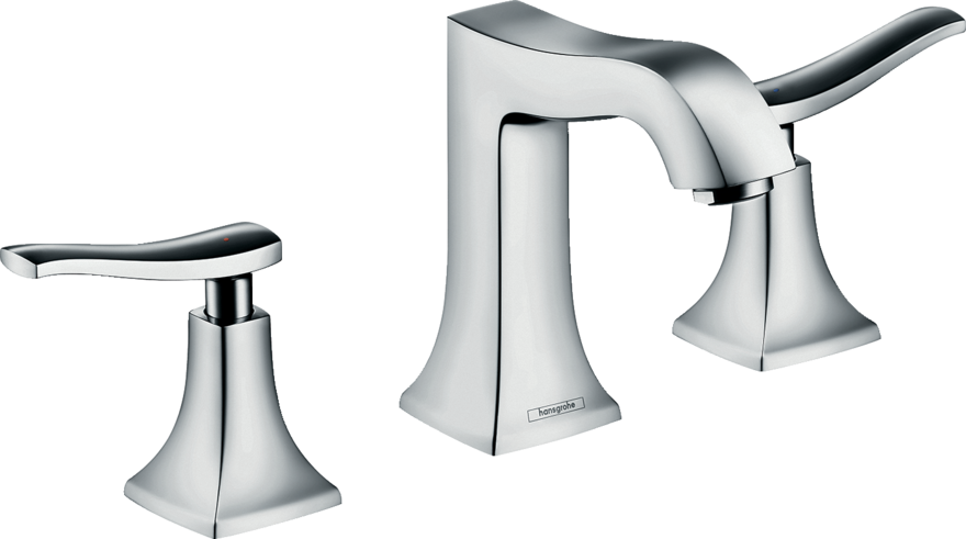 Metris Classic 3-hole basin mixer 100 with pop-up waste set