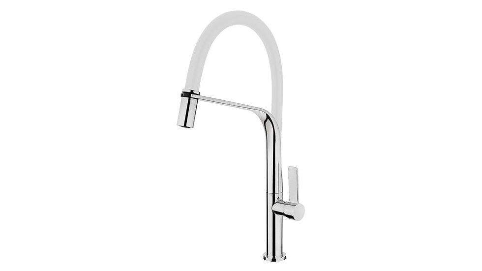 Single lever kitchen faucet with flexible spout