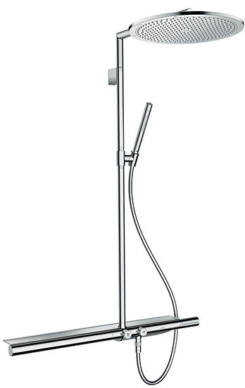 AXOR ShowerSolutions Showerpipe 800 with thermostatic mixer and overhead shower