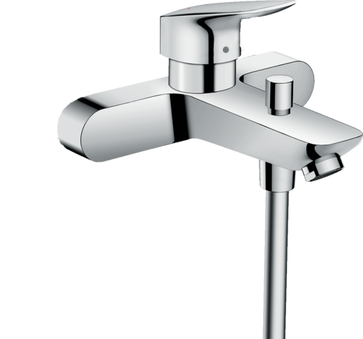 Logis Single lever bath mixer for exposed installation with centre distance 15.3