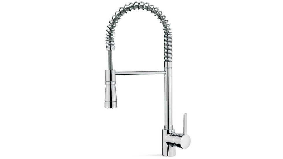 Kitchen faucet mixer professional or pescadera type rotary and flexible conduit