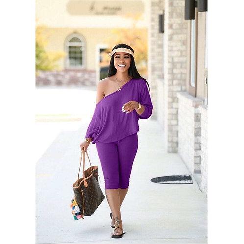 Better Off The Shoulder Loungewear-Purple