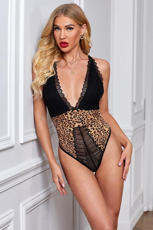 Deep V Lace Leopard Cutout Back Bodysuit