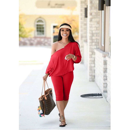 Better Off The Shoulder Loungewear-Red