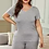 Thumbnail: Gray Plus Size V Neck T shirt Shorts Loungewear