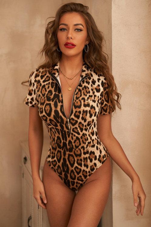 Leopard Print Zipper Bodysuit