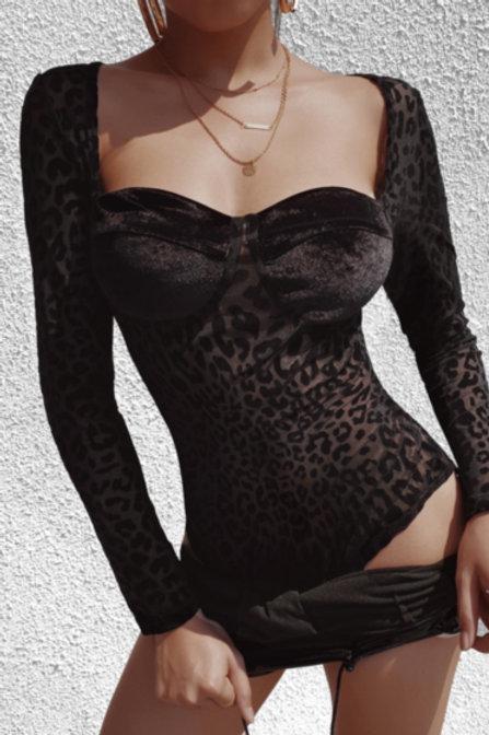 Sexy Leopard Mesh Velvet Bodysuit