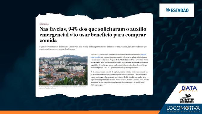 ESTADÃO: Nas favelas, 94% dos que solicitaram o auxílio emergencial vão usá-lo para comprar comida