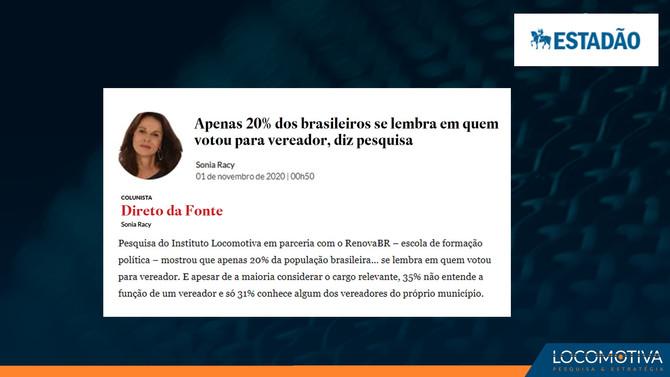 ESTADÃO: Apenas 20% dos brasileiros se lembra em quem votou para vereador, diz pesquisa