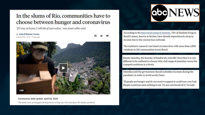 ABC NEWS: In the slums of Rio, communities have to choose between hunger and coronavirus