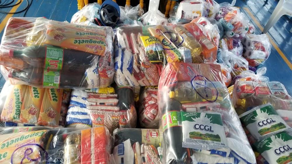 Cestas básicas que serão distribuídas a algumas comunidades do interior de Oriximiná — Foto: Ascom MRN/Divulgação.
