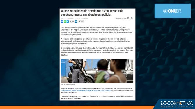 ONU: Quase 50 milhões de brasileiros dizem ter sofrido constrangimento em abordagem policial