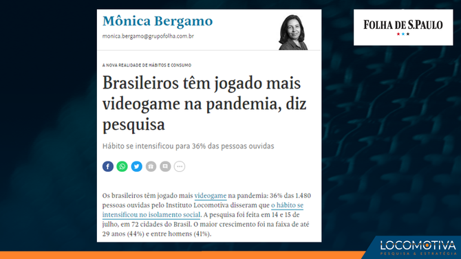 FOLHA DE S. PAULO: Brasileiros têm jogado mais videogame na pandemia, diz pesquisa