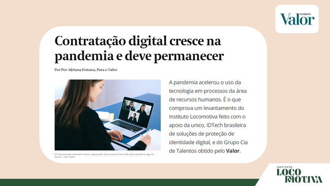 VALOR ECONÔMICO: Contratação digital cresce na pandemia e deve permanecer