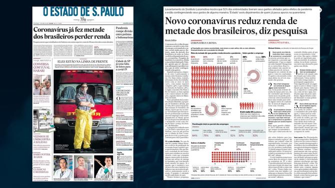 O ESTADO DE S. PAULO: Novo coronavírus reduz renda de metade dos brasileiros, diz pesquisa