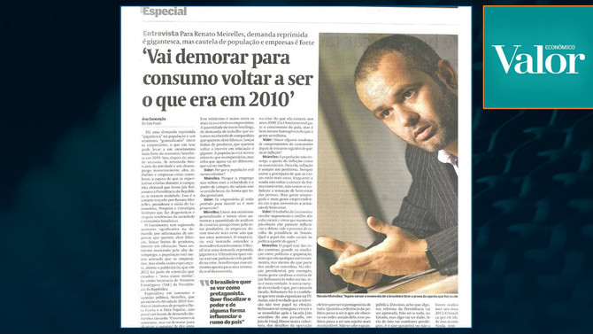 VALOR ECONÔMICO: 'Vai demorar para consumo voltar a ser o que era em 2010'
