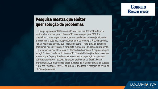 CORREIO BRAZILIENSE: Pesquisa mostra que eleitor quer solução de problemas
