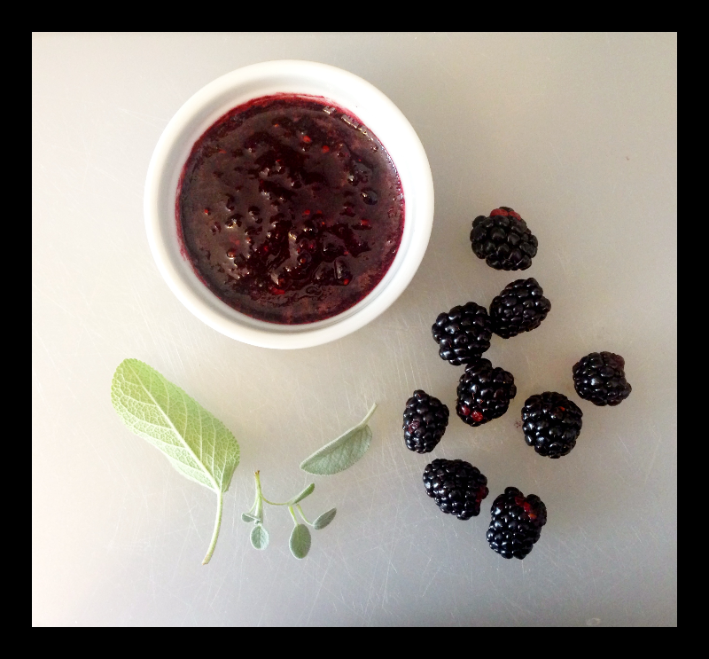 Pureed Blackberries and Sage Leaves