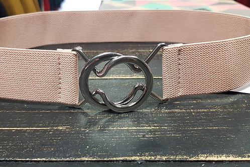 Ceinture élastique double boucle rose