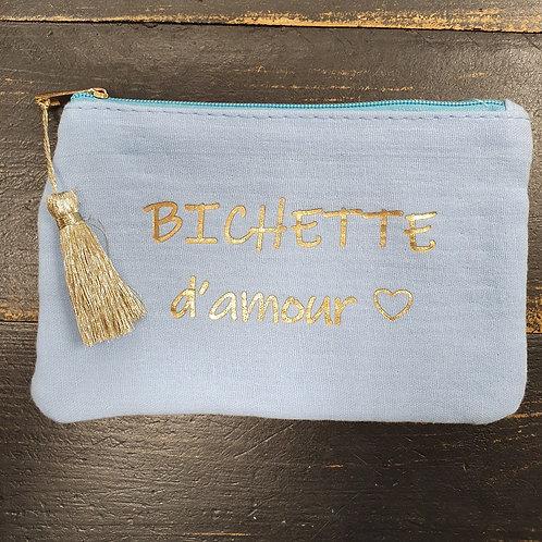 """Petite pochette """"Bichette"""" bleu"""