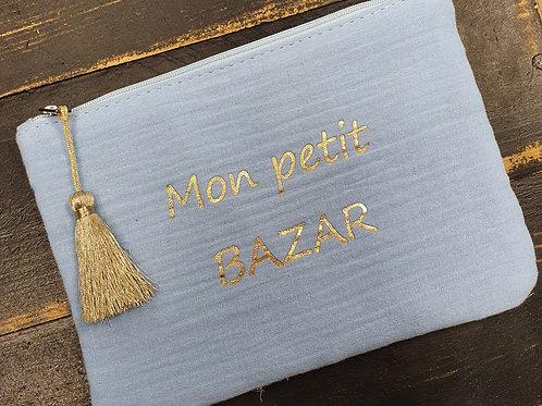 """Pochette """"Bazar"""" bleu"""