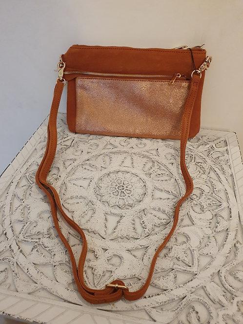 Pochette cuir véritable/daim camel