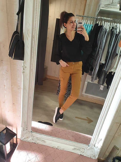 """Skinny cargo taille haute """"moutarde"""""""