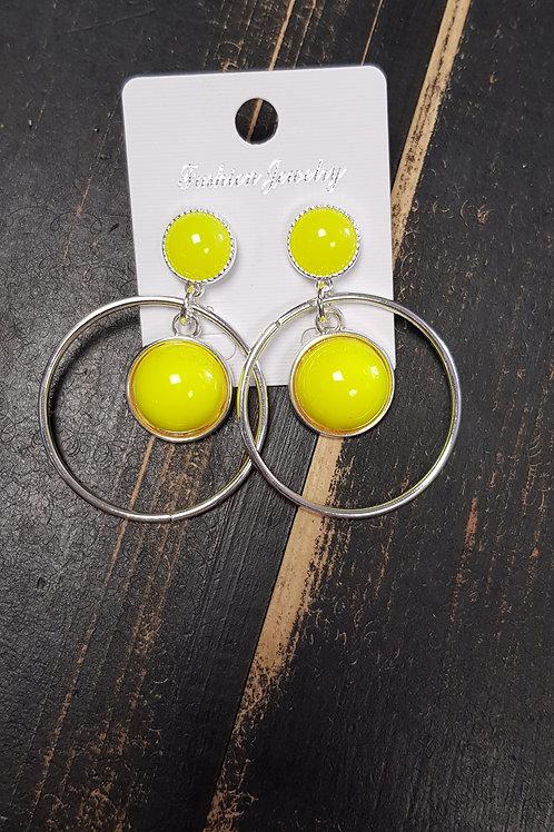 """Boucles d'oreilles """"jaune fluo"""""""