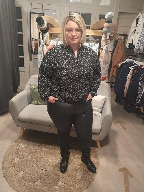 Pantalon enduit noir grande taille