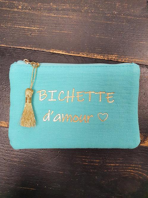 """Petite pochette """"Bichette"""" turquoise"""