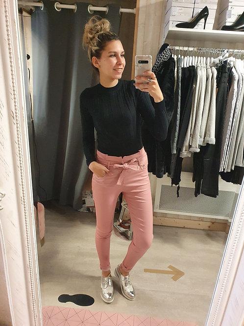 Pantalon Enduit Nœud Rose