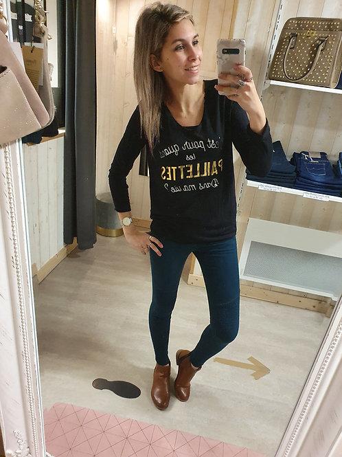"""Tee-shirt """"Paillettes"""" Noir"""