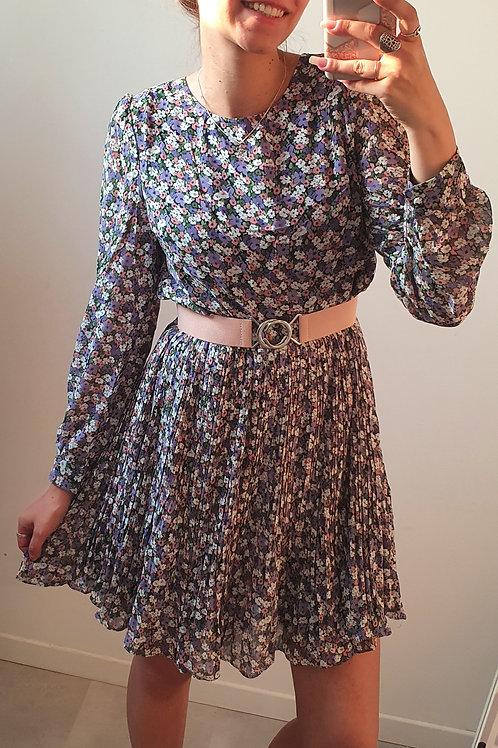 """Robe plissée fleurie """"violet"""""""
