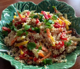 Spicy Vegetable Quinoa Salad with Peanut Sauce