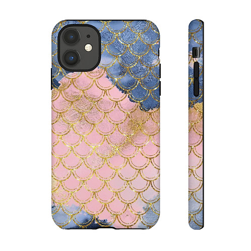 Blush + Navy Trident Mermaid Scales Designer Tough Case