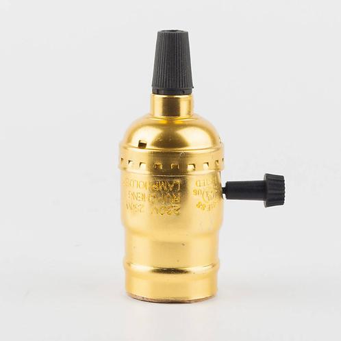 Алюминиевый Ретро Патрон с выключателем VS-2 (Золото) | Люстра Паук | Ретро Лампы | Лампы Эдисона | Лофт Свет | Светильники