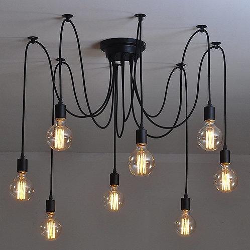 Люстра Паук - 8 ламп Black | Ретро Лампы | Лампы Эдисона | Лофт Свет | Светильники в стиле Лофт | Ретро Патрон | LustraPauk |