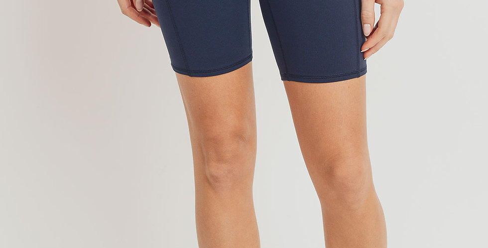 ARISE Navy Highwaist Shorts W/Pockets