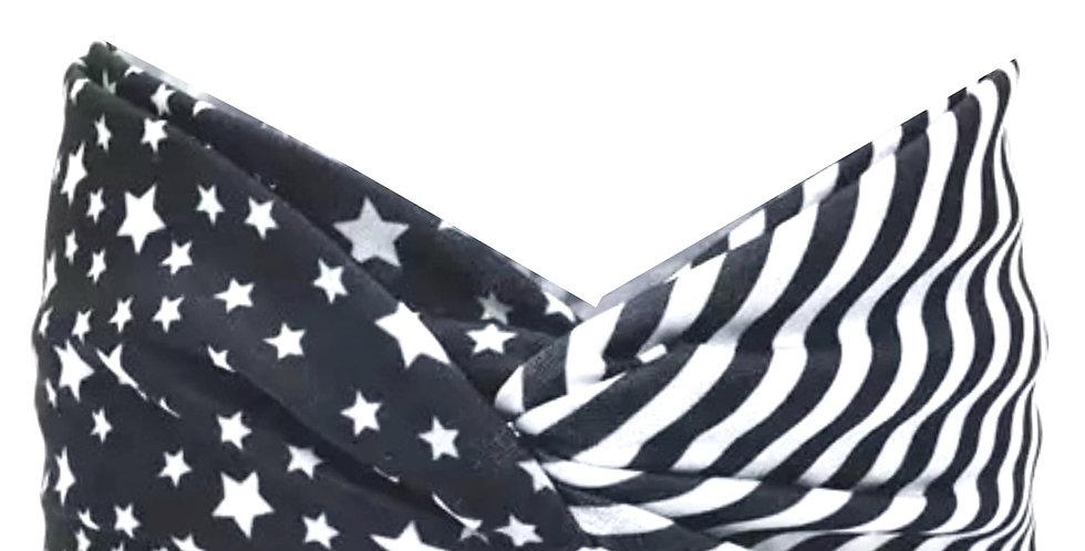 Black Background White Star/Stripes