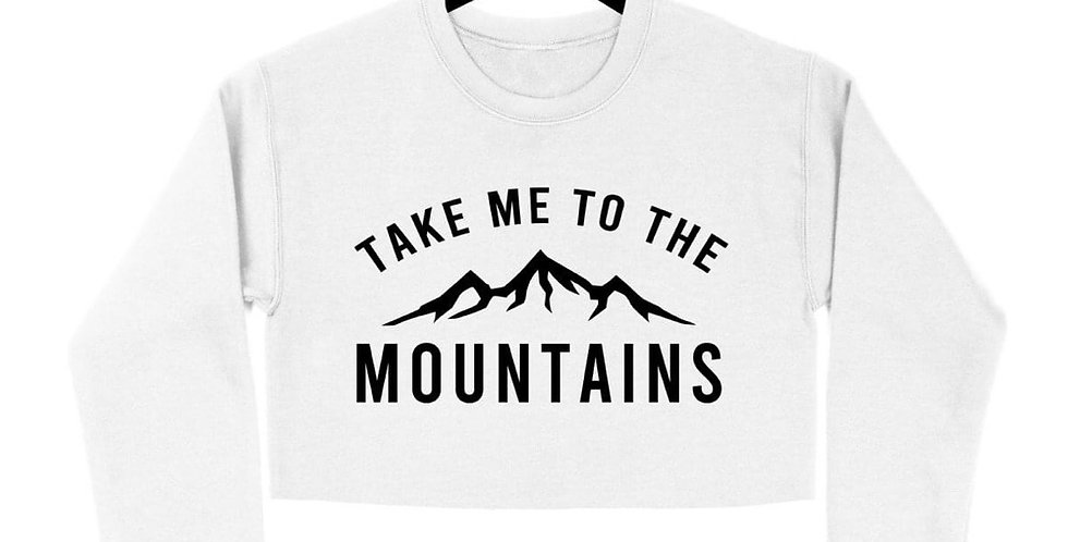 """Take me to the mountains"" CROP sweater - WHITE"