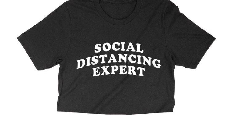 """""""SOCIAL DISTANCING EXPERT"""" BLACK CROP TEE"""