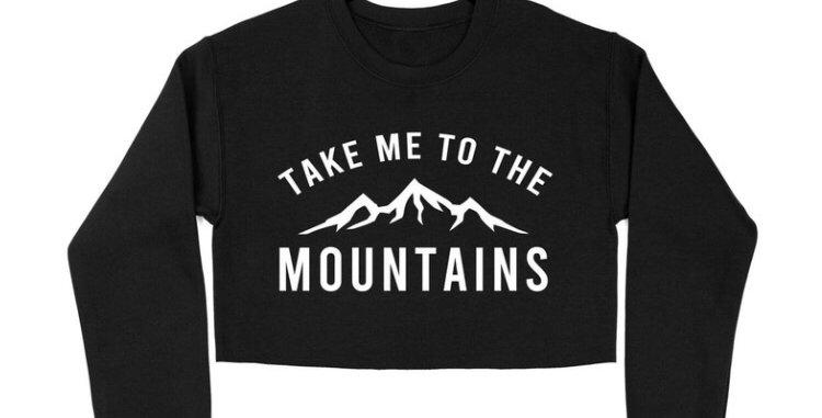 """Take me to the mountains"" CROP sweater - BLACK"
