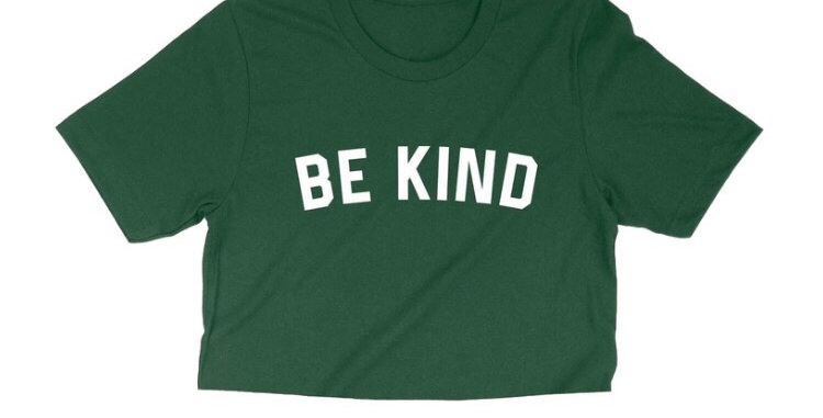"""BE KIND"" GREEN CROP TEE"