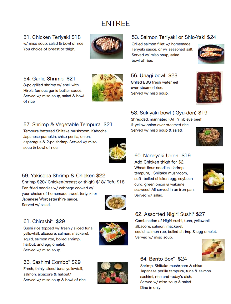 Sushi Specials and Dinner Entrees