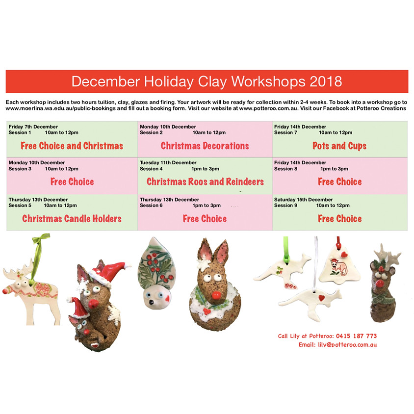 December Holiday Clay Workshops 2018